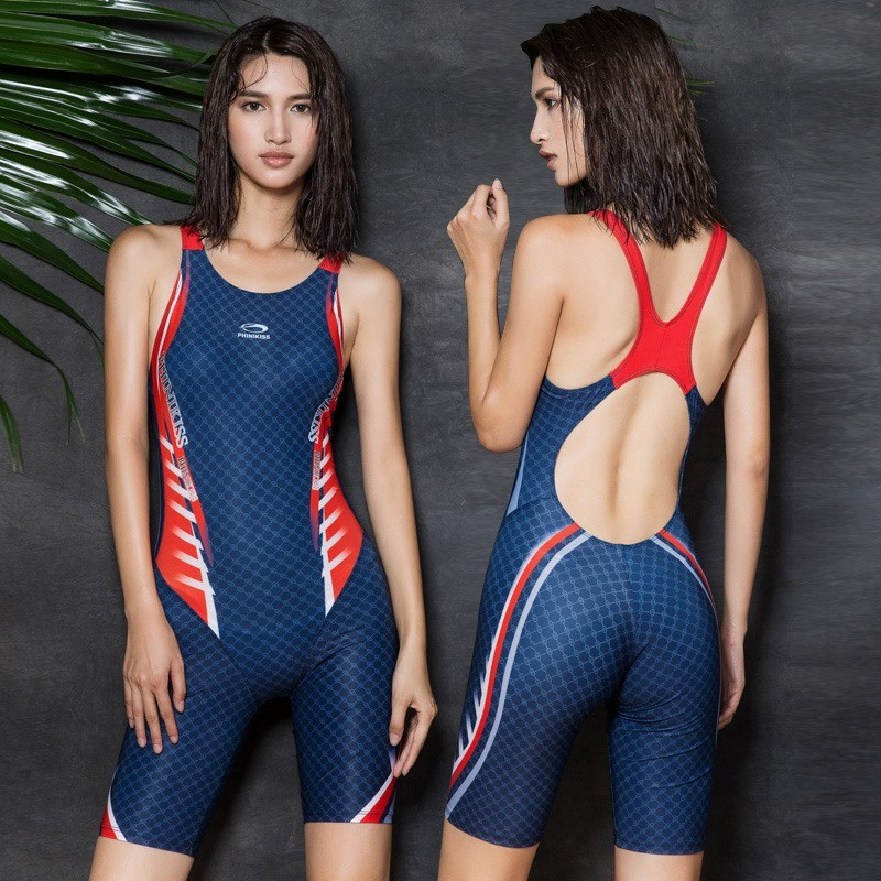 Blue and Red Sport Swimwear for Women, Slimming Athletic One Piece Bathing  Suits