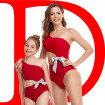 Mother Daughter Swimsuits Cutout One Shoulder Bowknot One-piece