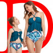 Mommy and Me Tankini, Cinched Keyhole Ruffled Criss Cross Back Tankini for Mother and Daughter