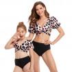 Mommy and Me Bikini, Mom Daughter V Neck Puff Sleeve Bikini